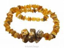 kolok.ro-Colier Tribal cu mărgele neșlefuite din chihlimbar miere-KDX058-20