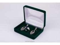 kolok.ro-Cutiuță din catifea verde pentru inel și cercei-KDB42-20