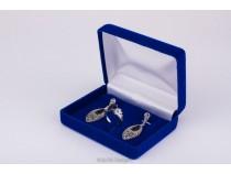 kolok.ro-Cutiuță din catifea albastru pentru inel și cercei-KDB44-20