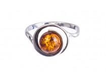 kolok.ro-Inel argint model cerc cu o piatră de chihlimbar coniac-KONFI115-20