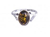 kolok.ro-Inel argint cu o piatră ovală din chihlimbar baltic verde, 7-KDUK211-20