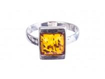 kolok.ro-Inel design din argint cu chihlimbar coniac pătrat-KONFI108-20