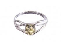 kolok.ro-Inel finuț din argint cu o piatră de chihlimbar verde-KONFI119-20