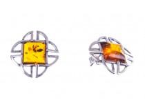 kolok.ro-Cercei argint model celtic cu chihlimbar baltic coniac-KDUK161-20