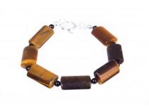 kolok.ro-Brățară pentru bărbați cu pietre de ochi de tigru rectangulare-KDK290-20