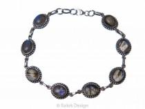 kolok.ro-Brățară vintage din argint cu pietre ovale de labradorit-KDP164-20