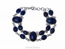 kolok.ro-Brățară dublă din argint 925 cu pietre ovale de lapis lazuli-KDP158-20