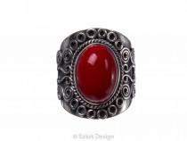 kolok.ro-Inel argint stil vintage cu o piatră ovală de coral roșu-KONFI58-20