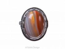 kolok.ro-Inel argint 925 oval cu o piatră mare de agat botswana-KONFI85-20