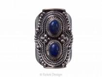 kolok.ro-Inel argint model vintage cu două pietre de lapis lazuli-KONFI69-20