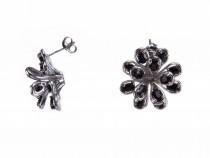 kolok.ro-Cercei floare din argint 925 decorați cu safir negru-KDI519-20