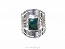 kolok.ro-Inel argint 925 Green Fantasy cu o piatră de crisocola-KONFI57-20