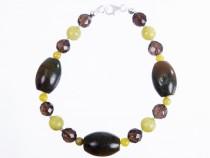 kolok.ro-Brățară din jad olive și cuarț fumuriu-KDK525-20