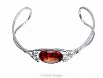 kolok.ro-Brățară rigidă argint cu o piatră ovală de chihlimbar coniac-KDUK10-20
