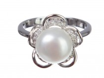 kolok.ro-Inel floare din argint cu perla de cultură și zirconia,6-KDI557-20