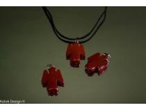 kolok.ro-Pandantiv plat din jasp roșu, în formă de îngeraș-KD15921-20