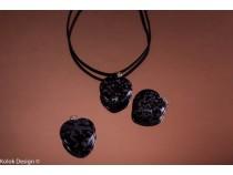 kolok.ro-Pandantiv obsidian în formă de inimă, dimensiune de 20 mm-KD1616-20