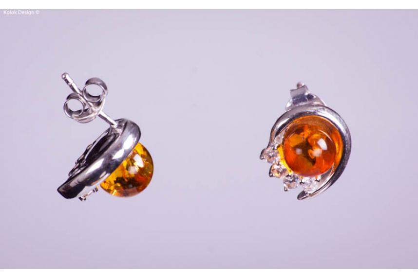 kolok.ro-Cercei rotunde din argint cu chihlimbar și pietricele albe-KDI078-00
