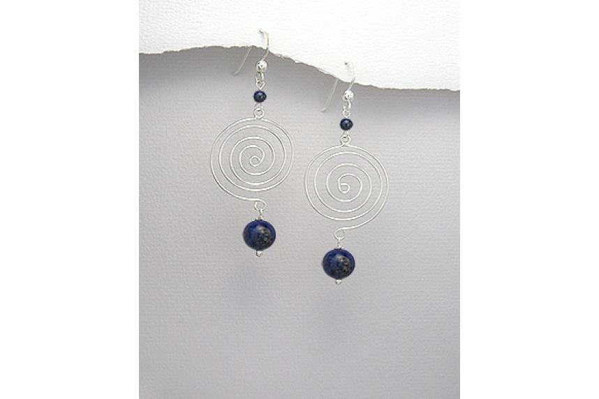 kolok.ro-Cercei spirală din argint cu pietre de lapis lazuli-KDI497-00