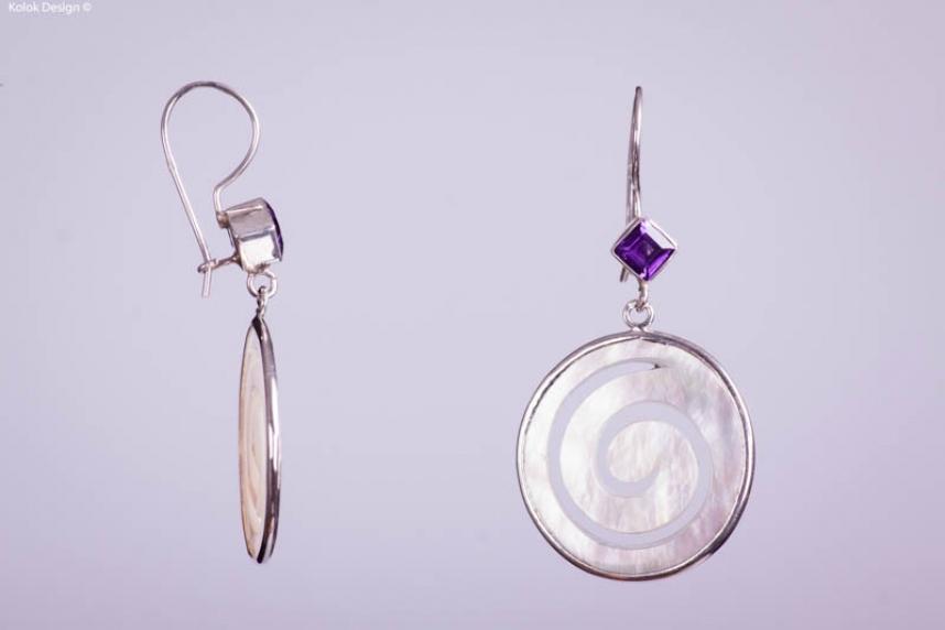 kolok.ro-Cercei argint din sidef spirală cu ametist-KDI001-00