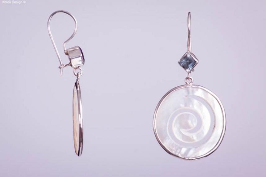 kolok.ro-Cercei argint din sidef spirală cu topaz albastru-KDI000-00