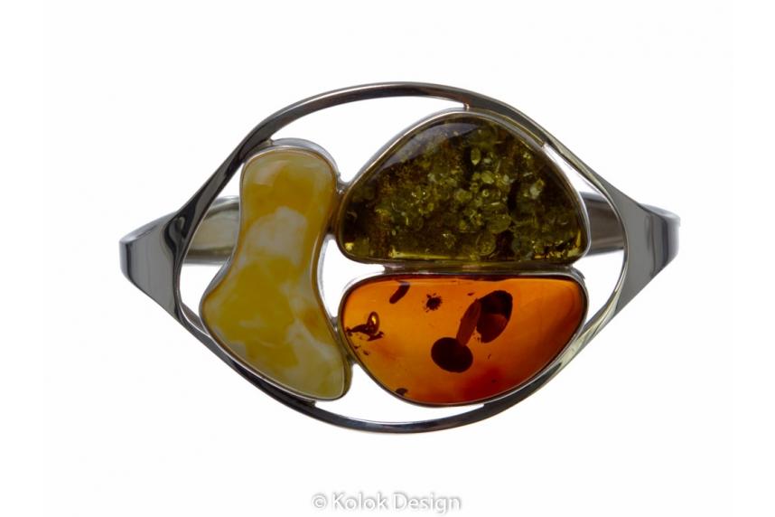 kolok.ro-Brățară rigida lux din argint cu chihlimbar baltic mix-KDE001-00