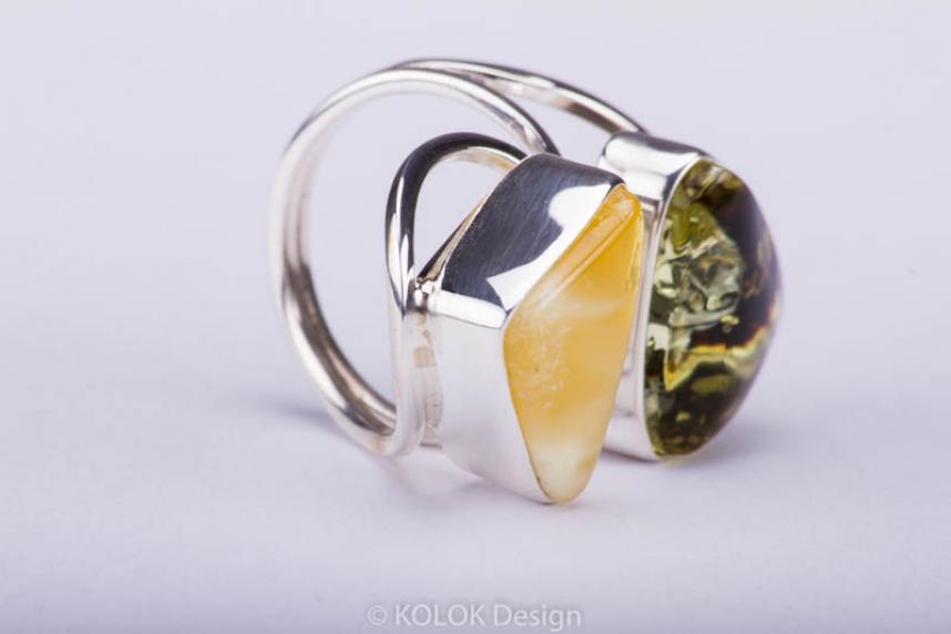 kolok.ro-Inel lux din argint cu două pietre de chihlimbar baltic-KDE037-00