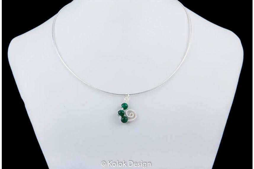 kolok.ro-Set handmade cu trei pietre jad verde și sârmă argintată-KDHE12-00