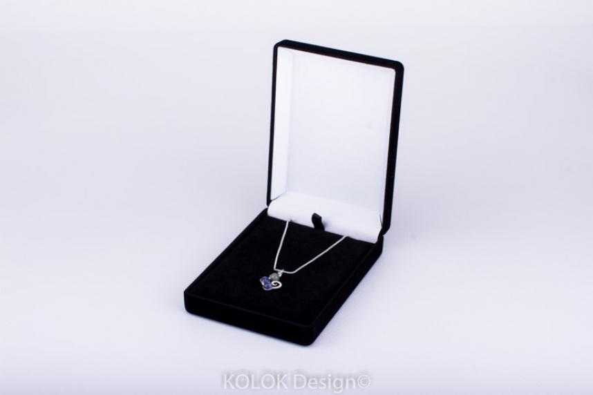kolok.ro-Cutie mare pentru pandantiv din catifea pe negru-KDB25-00