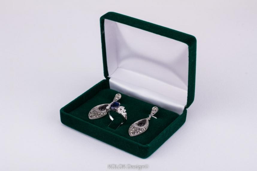 kolok.ro-Cutiuță din catifea verde pentru inel și cercei-KDB42-00