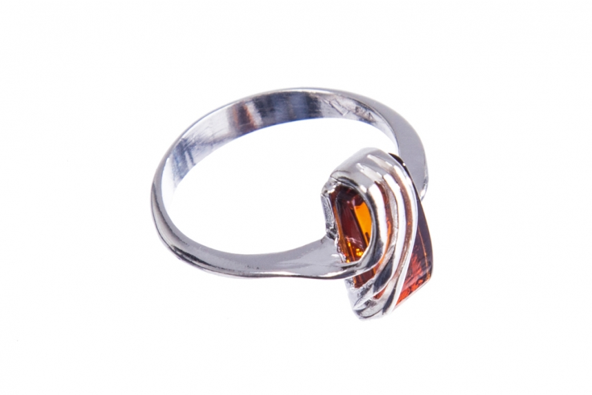 kolok.ro-Inel argint 925 cu o piatră dreptunghiulară de chihlimbar coniac, 7-KDUK227-00