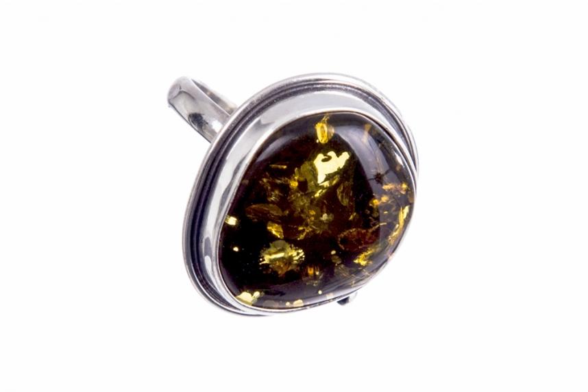 kolok.ro-Inel unicat din argint cu piatră de chihlimbar verde,7.5-KDUK256-00