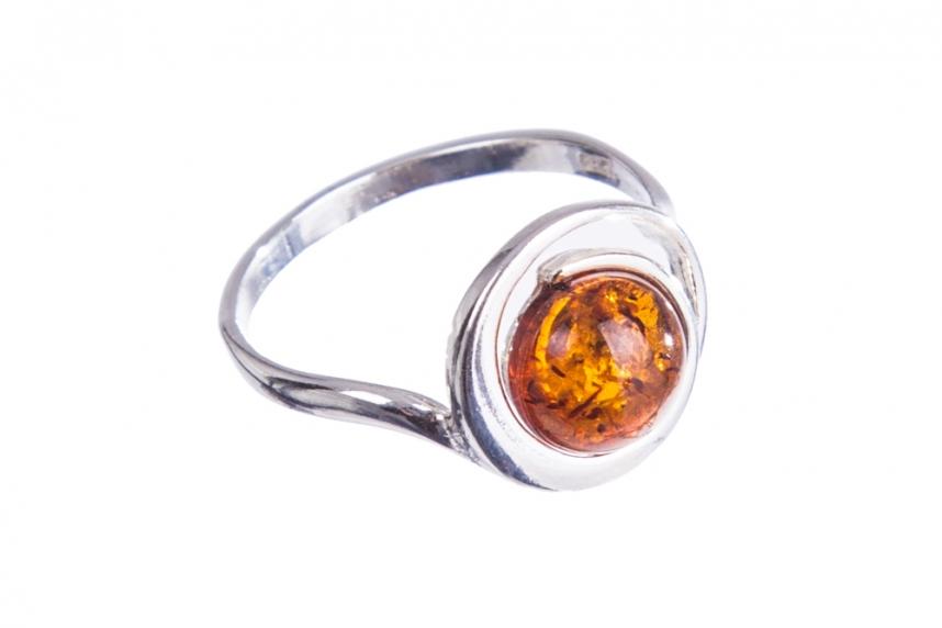 kolok.ro-Inel argint model cerc cu o piatră de chihlimbar coniac-KONFI115-00