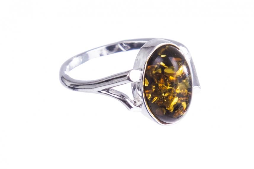 kolok.ro-Inel argint cu o piatră ovală din chihlimbar baltic verde, 7-KDUK211-00
