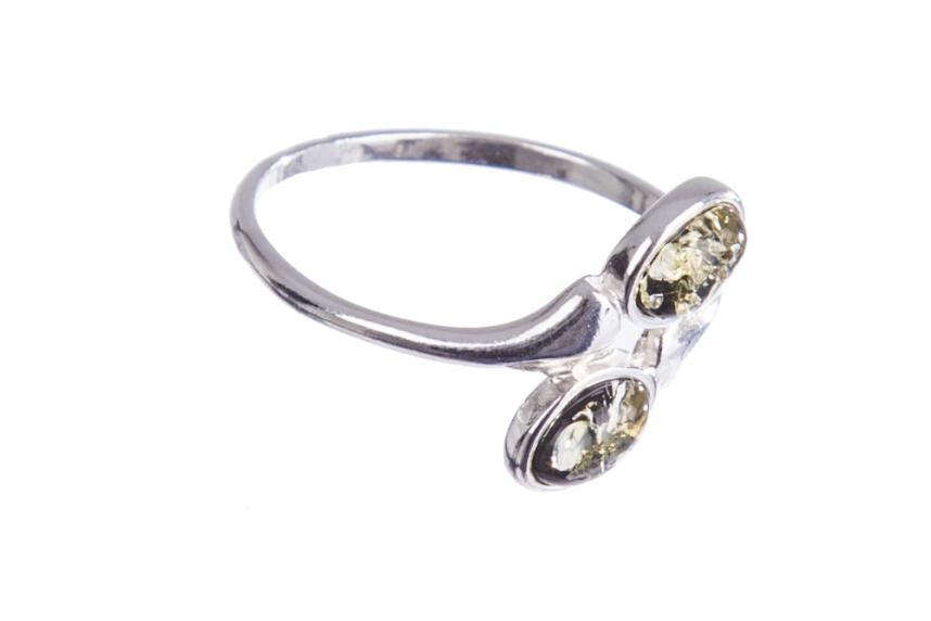 kolok.ro-Inel argint cu pietre ovale de chihlimbar baltic verde-KONFI120-00