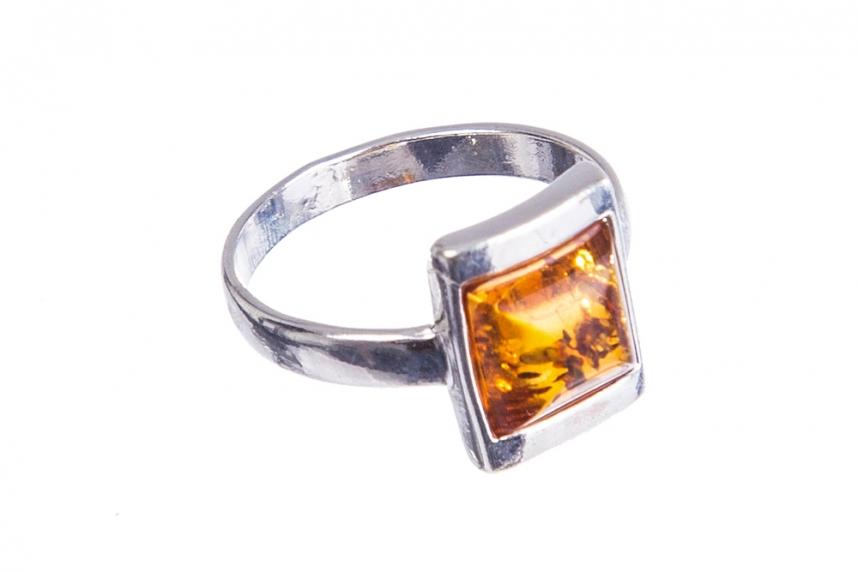 kolok.ro-Inel design din argint cu chihlimbar coniac pătrat-KONFI108-00