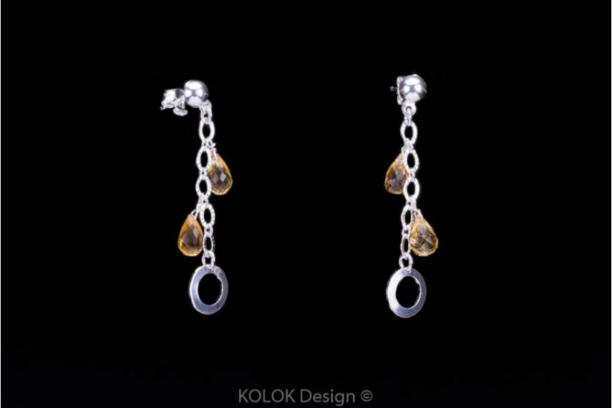 kolok.ro-Set argint cu pietre semiprețioase de citrin fațetat-KDK39-00