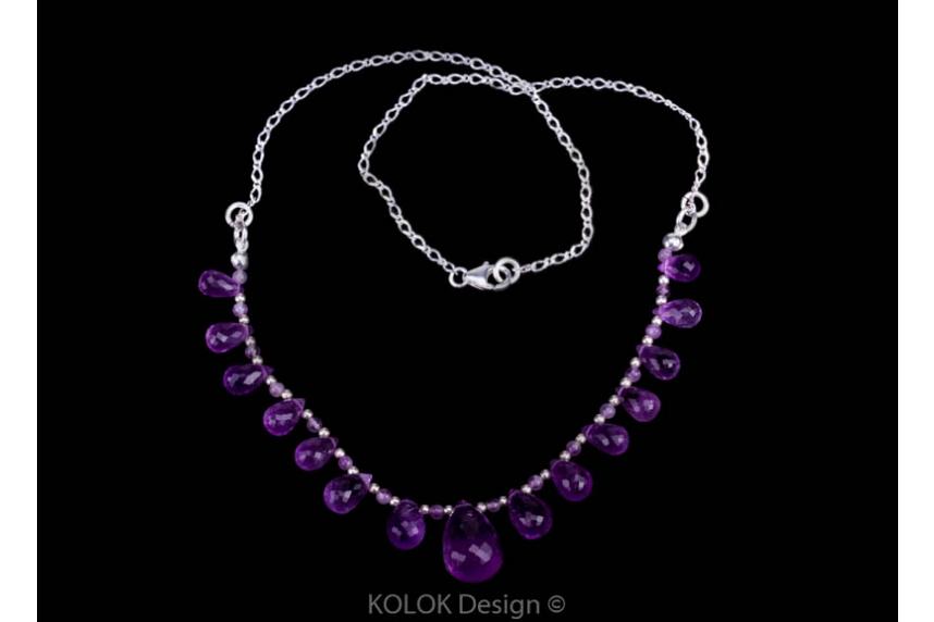 kolok.ro-Colier Regal din argint și pietre fațetate ametist-KDK72-00