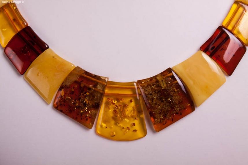 kolok.ro-Colier din chihlimbar autentic cu mărgele rectangulare-KDX0231-00