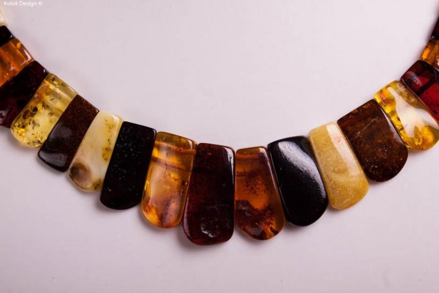 kolok.ro-Colier din chihlimbar cu mărgele de prisme-KDX0221-00
