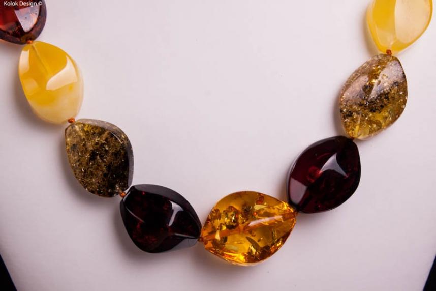 kolok.ro-Colier din chihlimbar baltic cu mărgele mari și ovale-KDX0241-00