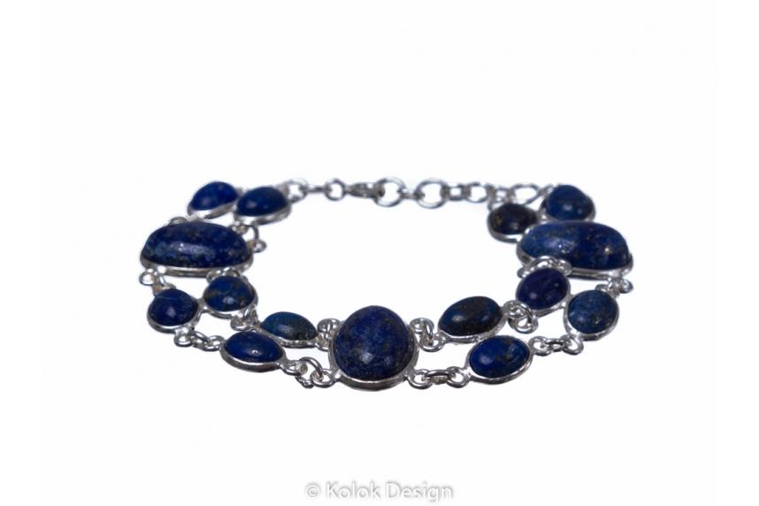 kolok.ro-Brățară dublă din argint 925 cu pietre ovale de lapis lazuli-KDP158-00