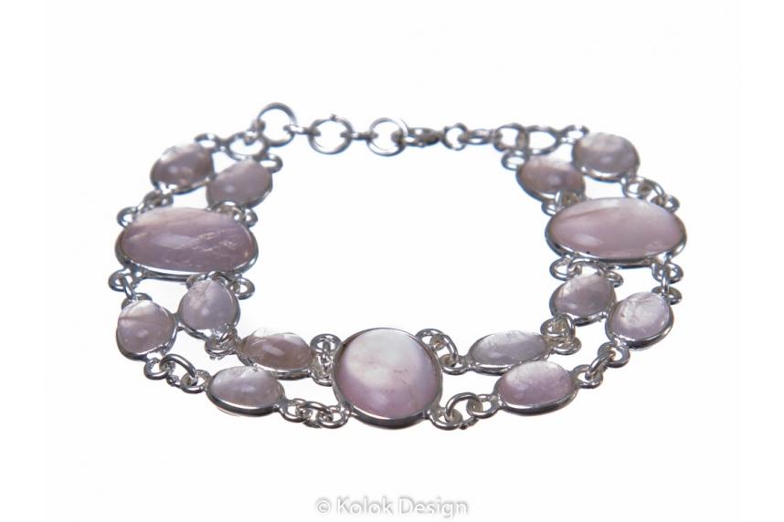 kolok.ro-Brățară dublă din argint 925 cu pietre ovale de cuarț roz-KDP159-00