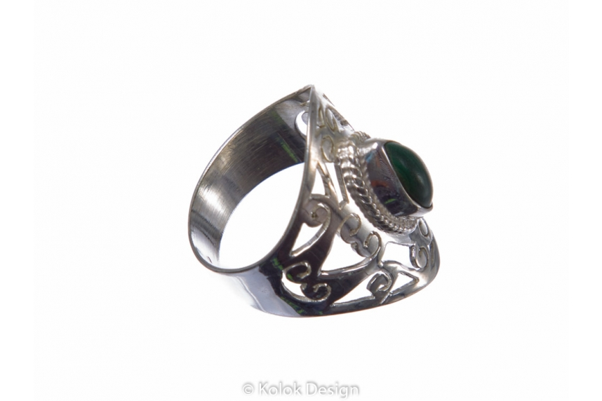 kolok.ro-Inel oriental argint cu o piatră semiprețioasă de malachit 7-KDP148-00