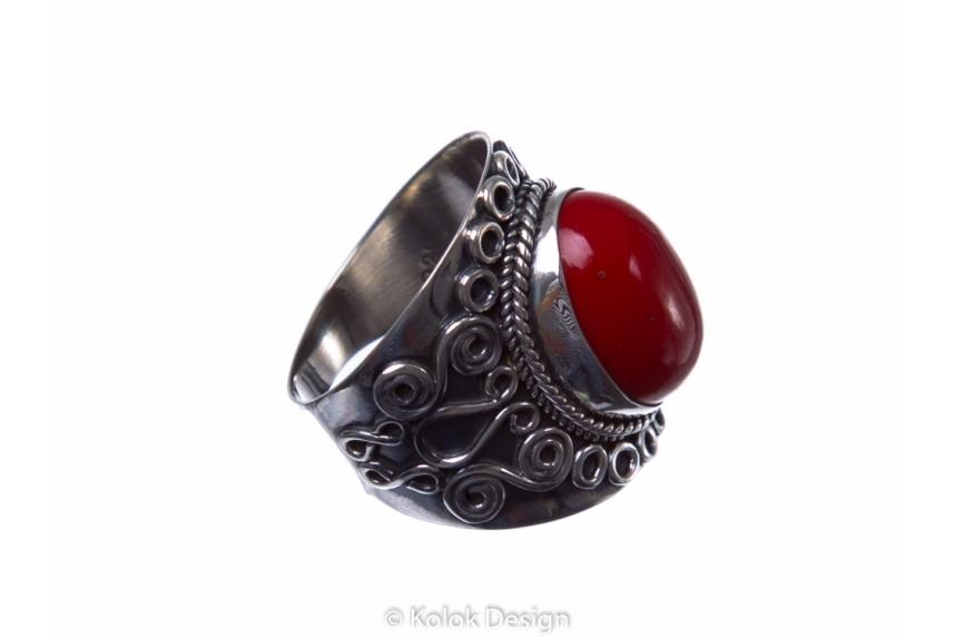 kolok.ro-Inel argint stil vintage cu o piatră ovală de coral roșu-KONFI58-00