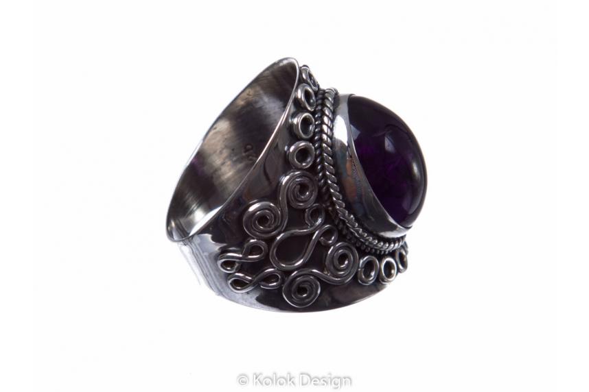 kolok.ro-Inel argint stil vintage cu o piatră ovală de ametist 7-KDP95-00