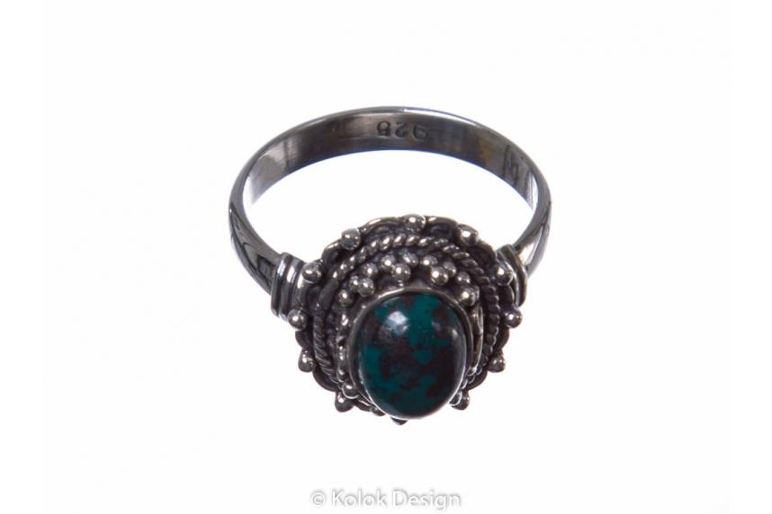 kolok.ro-Inel din argint 925 cu o piatră ovală din crisocola-KONFI55-00