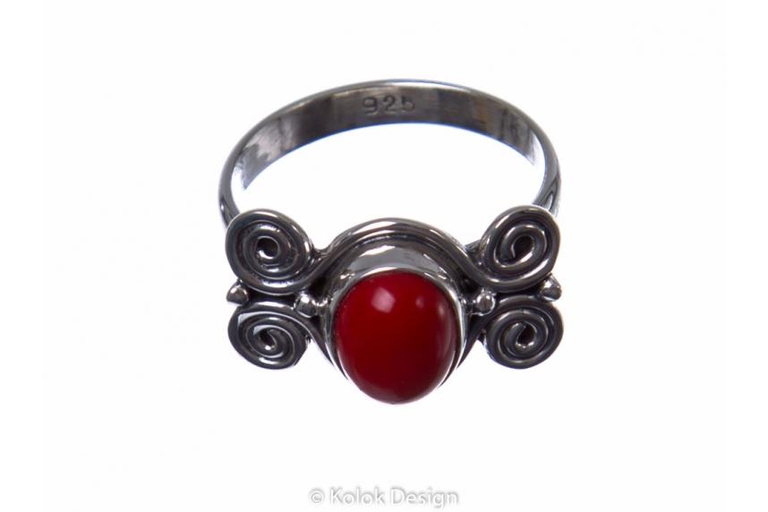 kolok.ro-Inel din argint cu coral model în formă de spirale-KONFI67-00