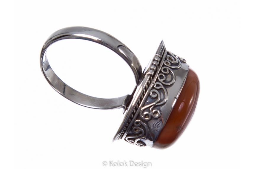 kolok.ro-Inel argint 925 oval cu o piatră mare de agat botswana-KONFI85-00