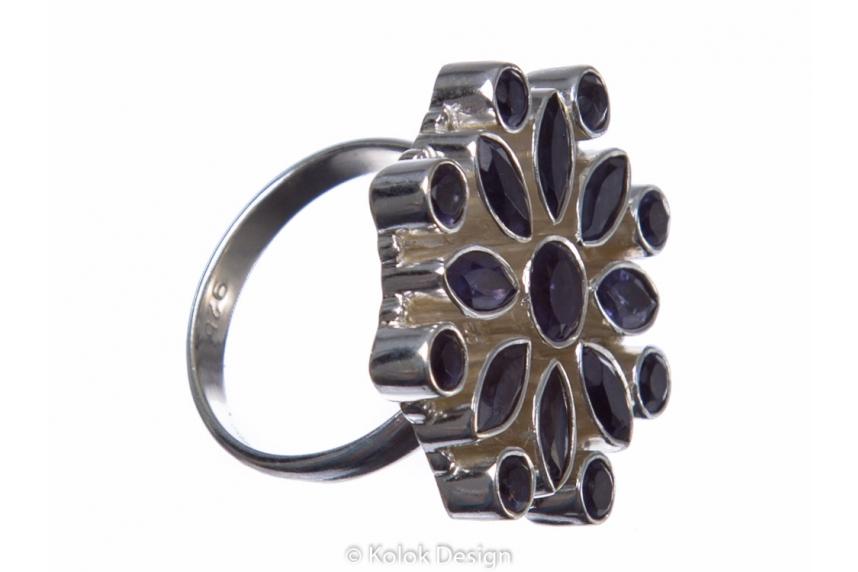 kolok.ro-Inel argint 925 stil oriental cu pietre mici de iolit-KONFI61-00